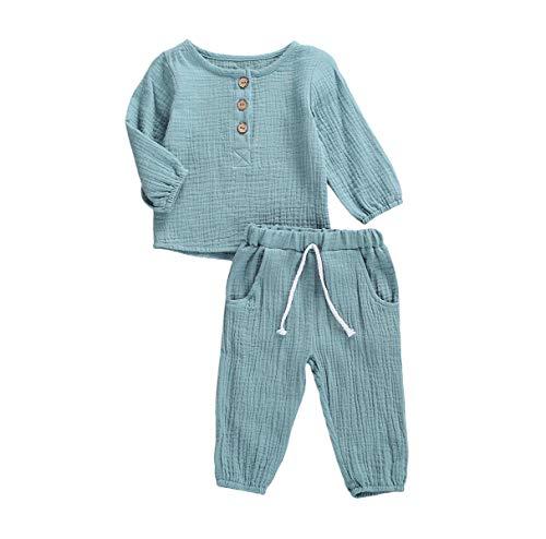 Kleinkind Baby Mädchen Jungen Shorts Set Sommer Outfit Baumwolle Leinen Ärmellos Button Down T-Shirt Top Kurze Hose Einfarbige Kleidung (C-Blue, 2-3 Years)