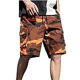 JURTEE Pantalones Cortos Hombre Camuflaje Hombre Bermudas Impresión Cargo Cortos Casual Hombre Bermudas Deportivos Elástico Shorts Hombre Deporte(Naranja,L)
