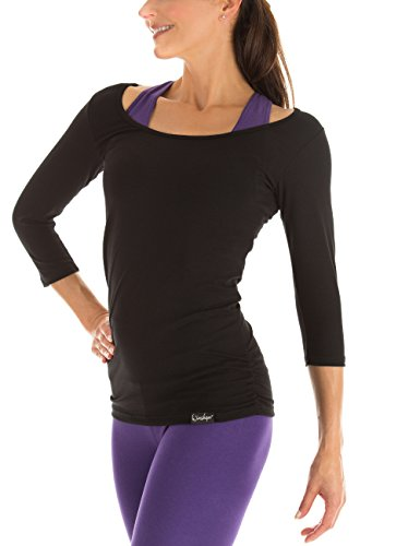 Winshape Damen Fitness Yoga Pilates 3/4-Arm Shirt WS4, Schwarz, Gr. L