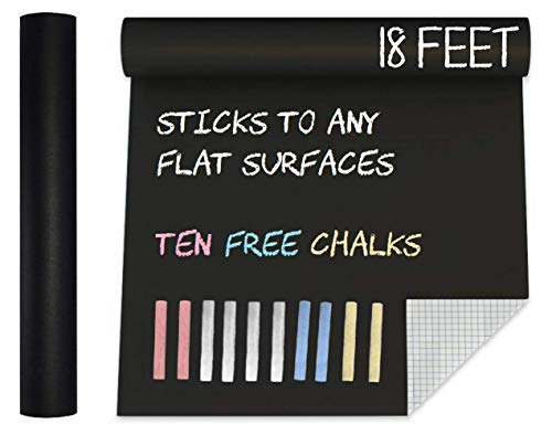 Extra Large Super Long Black Matte Chalkboard Vinyl Adhesive Paper Wall Decal Poster (18 FEET) Blackboard Roll Adhesive Board Paint w/ Color Chalks - Peel and Stick DIY Wallpaper Sizes 17.8' X 216.5'