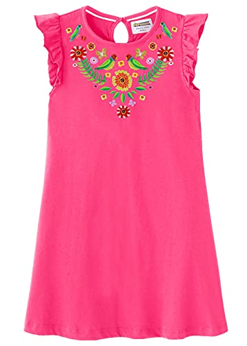 Fiream Little Girls Dresses Summer Cotton Hot Pink Mexican Embroidered Floral Beautiful Cute Casual Dress for Kids Girls(186031,6-7 Years)