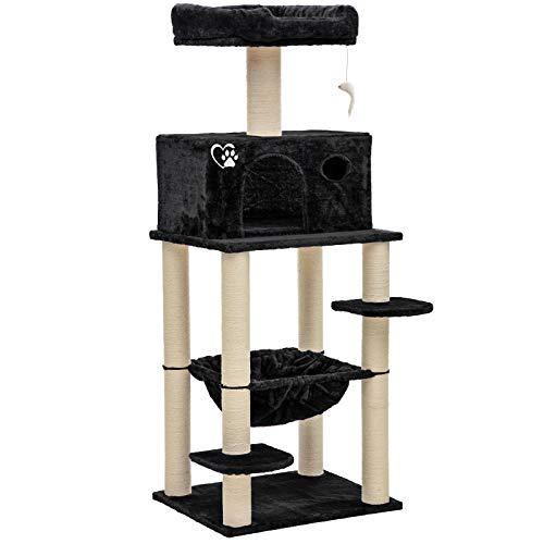 Midori® Kratzbaum für Katzen | Stabiler 147 cm hoher Katzenbaum Felix in Schwarz | Mittelgroßer Kletterbaum mit Liegemulde, Höhle, Aussichtsplattform, Sisal & Spielzeug