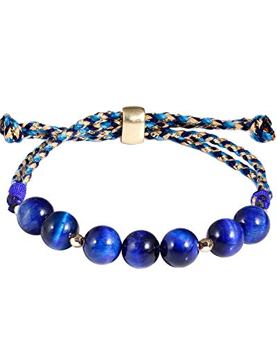 Jewboo Tigers Eye Braided Bracelet for Women Jewelry Gemstone Energy crystals and healing Stones Friendship String Bracelets (blue tiger eye)