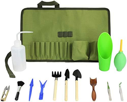 Succulent Kit Roll Organizer Gardening Tool Set | Terrarium Supplies Mini Succulent Garden Tool Kit | Heavy Duty Succulent Bonsai Planter Set Indoor Gardening | Fairy Zen Kit for Soil Fertilizer Seeds