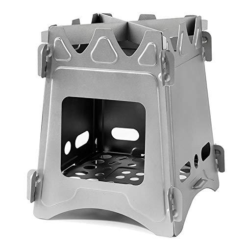 GXLX Tragbare Campingkocher Folding Holzofen Leichte Reintitan Außentasche Backpacking Kochen