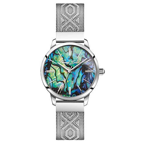 Thomas Sabo Damen Analog Quarz Uhr mit Edelstahl Armband WA0344-201-218-33 mm