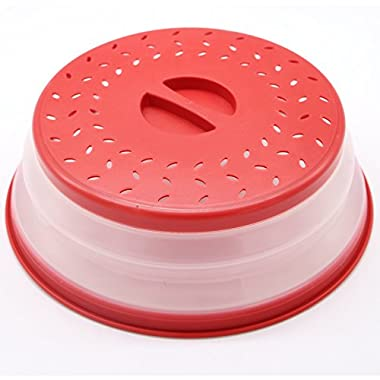KRShop Strainer Collapsible Colander Microwave Plate Food Cover (Red)