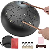 Steel Tongue Drum, 11 Notes 10 Inches Chakra Tank Drum C Key Percussion Instrument Kit with Mallets, Note Stickers, Finger Picks, Mallet Bracket, Bag for Musical Education Meditation Yoga