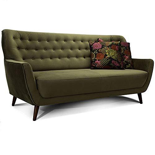 CAVADORE 3-Sitzer-Sofa Abby / Retro-Couch im Samt-Look mit Knopfheftung / 183 x 89 x 88 / Samtoptik, grün