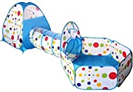 Tech Traders Toddlers crawl Soft Indoor-Outdoor Tunnel and Play Tent Cubby-Tube-Teepee 3 In 1 Playgr...