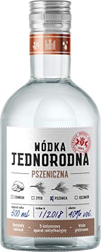 Single Grain Vodka Jednorodna, Weizen-Wodka aus Polen, 0,5 L, 40% Vol.