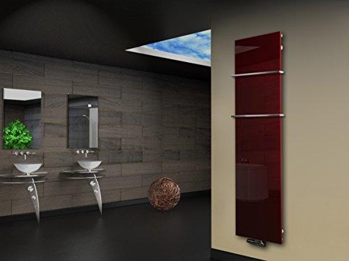 Badheizkörper Design Montevideo 3 (Glas-Front) HxB: 180 x 47 cm, 1118 Watt rot + 2 Handtuchhalter 15x15mm (Marke: Szagato) Made in Germany/Bad und Wohnraum-Heizkörper mit Echtglas (Mittelanschluss)