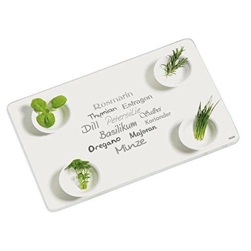 Glas Schneideplatte, Motiv Kräuter, Küchen Schneidebrett, 3 Größen, Servierbrett, Servierplatte (groß 40x30cm)