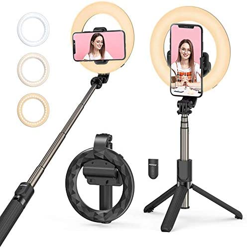 Selfie Ring Light with Tripod Stand and Phone Holder Mpow LED Ring Light Rechargeable Dimmable product image