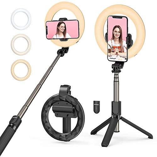 Selfie Ring Light with Tripod Stand and Phone Holder, Mpow Selfie Stick LED Ring Light Rechargeable Dimmable for Makeup, Live Streaming, Shooting, YouTube Video,Vlogs Compatible with iPhone/Android