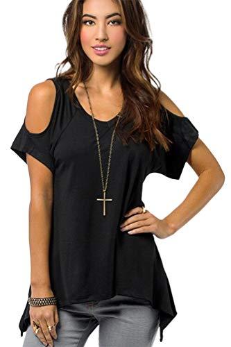 Urban CoCo Women's Vogue Shoulder Off Wide Hem Design Top Shirt - XX-Large - Black