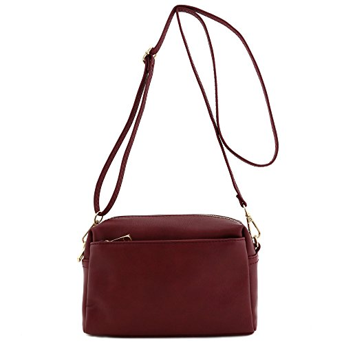 Triple Zip Small Crossbody Bag (Burgundy)