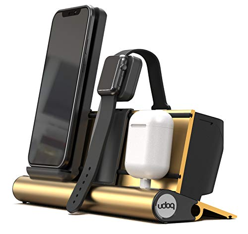 udoq The Docking System ohne sichtbare Kabel | 3-Fach Ladestation für Wireless Handy Apple Watch AirPods Pro & Co | 25x10x9 cm | Multi Charging Organizer (Gold)