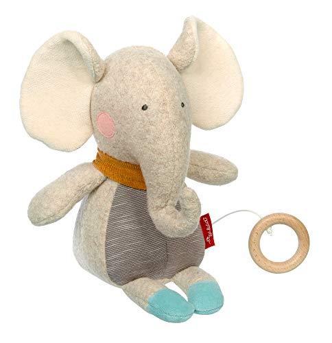 SIGIKID Mädchen und Jungen, Spieluhr Elefant, Gold, empfohlen ab 0 Monaten, grau/blau, 42674