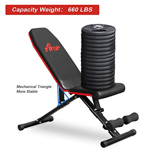 FISUP Weight Bench, Adjustable Workout Bench With Fast Folding, Multi-Purpose Utility Bench Press For Full Body Strength Training Home Gym