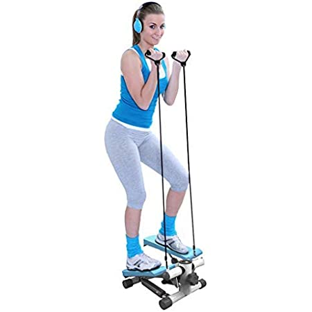 Stepper Crosstrainer avec Bandes de R/ésistance et /Écran /à LED Mini Stepper Stepper dAppartement Machine dExercices Entra/înement Gym Fitness pour Maison Bureau
