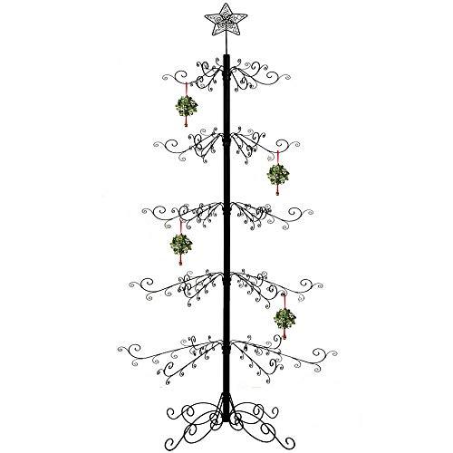 HOHIYA Wrought Iron Christmas Trees Metal Ornament Display Stand 7 to 8 Feet Black