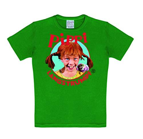 Logoshirt Pippi Langstrumpf - Portrait - T-Shirt Kinder - grün - Lizenziertes Originaldesign, Größe 92/98, 2-3 Jahre
