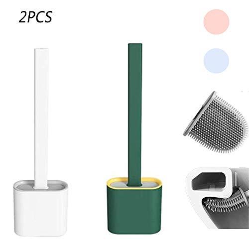 TYSJZBFL 2 Uds 2020 Nuevo Cepillo De Silicona para Inodoro De Cabeza Plana Flexible Suave con Soporte Creativo WC Juego De Soporte De Secado Rápido para Baño (B Set)