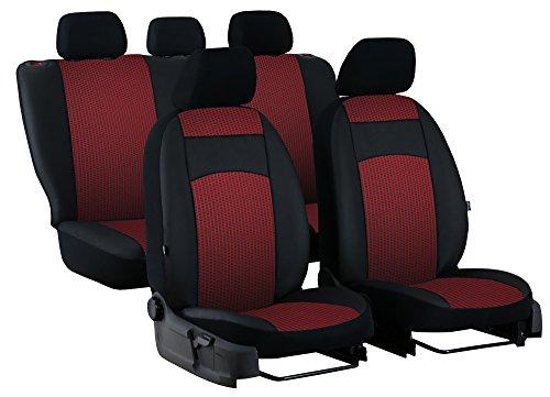 POKTER-ROYAL Paßgenaue Sitzbezüge ROYAL für GOLF VII Sportsvan ab 2013. Stoff mit Kunstleder. In diesem Angebot ROT.