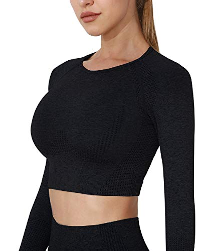 Yaavii Damen Sport Laufshirt Longsleeve T-Shirts Bauchfrei Langarm Crop Top Fitness Oberteile Schwarz S
