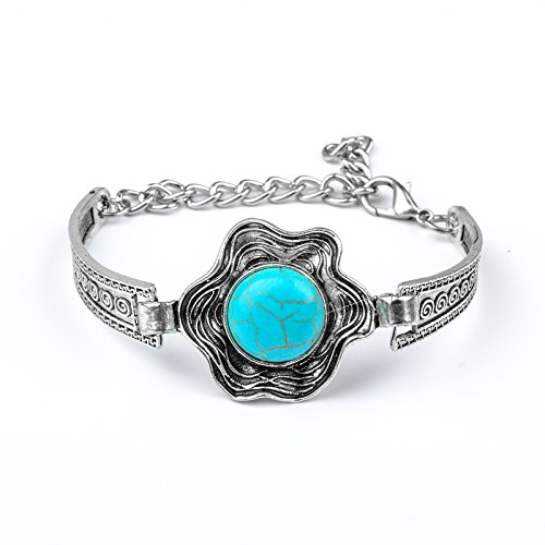 5starwarehouse® Zilveren & Turkoois Bloem Vintage Bangle Armband Boho Boheemse Sieraden Gift voor Hem Haar Stocking Filler A348