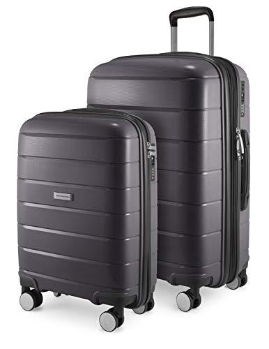 HAUPTSTADTKOFFER - PRNZLBRG - 2er Kofferset Trolley-Set Rollkoffer Reisekoffer Handgepäck und mittelgroßer Koffer (55/65 cm), ABS-Hartschale TSA, 4...