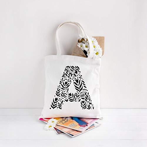 Bolso de mano personalizado con nombre inicial para dama de honor, regalos de fiesta nupcial, regalo de boda, bolso de mano personalizado cualquier letra alfabeto impreso bolsa de compras de algodón