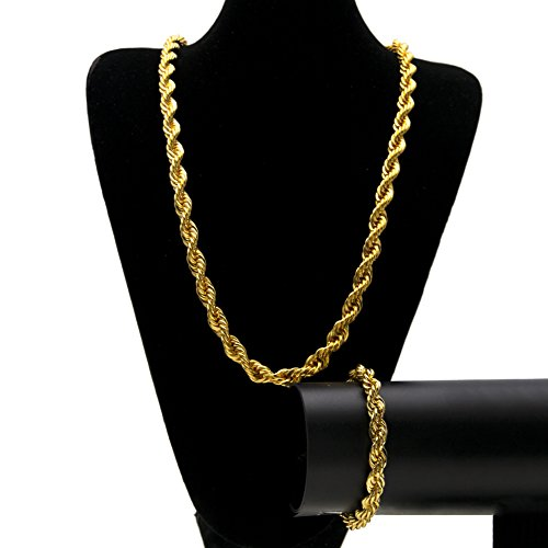 Juego de pulsera de estilo hip hop, collar con colgante de calle hipster punk, para hombre y mujer, joyería de regalo (oro, plata), collar, 123, dorado, Size