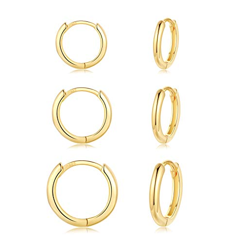 CERSLIMO Creolen Silber 925, Creolen Gold Damen Herren, Klein Creolen Gold Set (8mm/10mm/12mm) Zierliche Knorpel Tragus Helix Schlafen Ohrringe