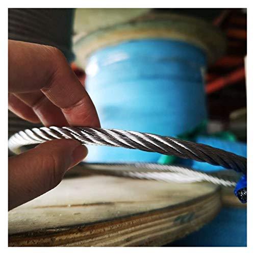 Cable Acero Trenzado,Cable De Alambre 8mm 5 metros / 80 metros / 160 metros 7X19 304 Cuerda de alambre de acero inoxidable más suave Pesca cable de tracción Tendedero cable de elevación Trinca Cuerda