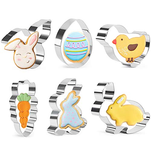 KAISHANE Easter Cookie Cutter Set 6 Pieces Bunny,Rabbit,Bunny Ear,Chick,Egg,Carrot,Stainless Steel Biscuit Cutter for Baking