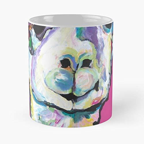 Whimsical Himalaya Pinturas Acrílico Animales Pat White Alpaca Saunders Pack Hueraco Wild Animal Eat Food Bite John Best Taza de café de cerámica de 325 ml