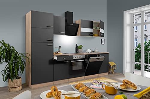 Respekta Cuisine complète, 280 cm, chêne, avec réfrigérateur, congélateur, plaque en vitrocéramique et lave-vaisselle