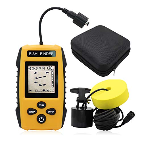 Visit the RICANK Portable Fish Finder, Contour Readout Handheld Fishfinder Depth readout 3ft(1m) to 328ft (100m) with Sonar Sensor Transducer and LCD Display 5 Modes Sensitivity Options Fish Depth Finder Black on Amazon.