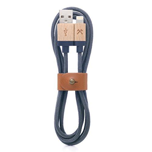 Woodcessories Kabel kompatibel mit Apple Lightning Produkten aus Holz Nylon EcoCable AhornBlau