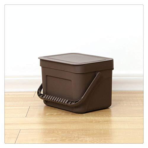 MotBach Botas de Basura Montado en la Pared Montado en la Pared Bolsa de Basura Bolsa de Basura Cero Residuos Reciclaje Compost Bin de Basura Baño Dustbin (Color : Dark Brown, Size : Small)