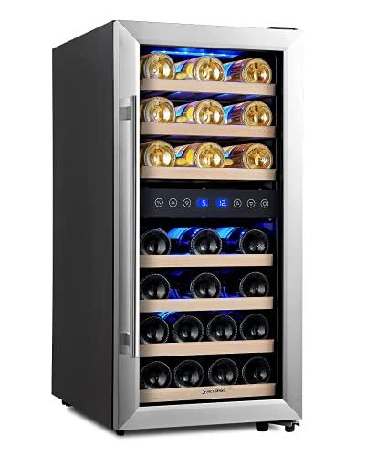 Kalamera Weinkühlschrank 2 Zonen,100 Liter, 33 Flaschen (bis zu 310 mm Höhe), Zwei Temperaturzonen 5-10°C/10-18°C,LED-Display,Edelstahl Glastür,KRC-33BSS