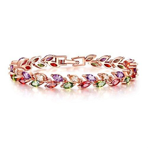 YAZILIND Schnalle Armband Rose Gold überzogene hübsche Farbe zirkon blätter für Frauen mädchen Party Schmuck (17cm)