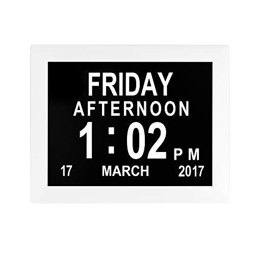Mars Jun Digitale kalender van 20,3 cm (8 inch), sprekende wekker met dag en maand voor senioren, cementen, 8 talen, horloge voor senioren, horloge voor mensen met Alzheime Wit