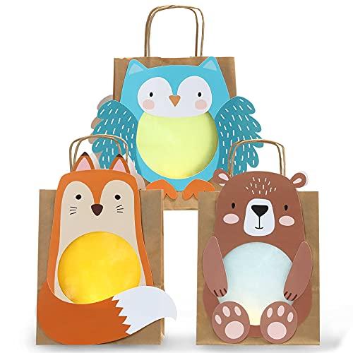 3 lanterne fai da te - sacchetti con manico in carta trasparente e parti punzonate - volpe, gufo e orso - per ragazze e ragazzi - ideale per i bambini dell'asilo