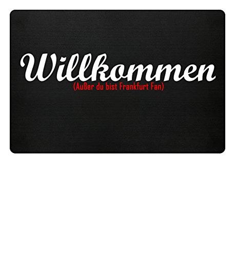 PlimPlom Fußmatte Anti Frankfurt in schwarz - Lustige Fußball Schmutzfangmatte mit Statement für Dein Zuhause aus Polypropylen mit Rutschfester Unterseite