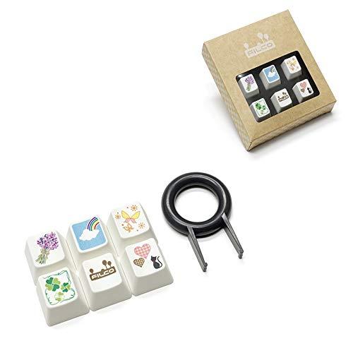 MXMYFZ Cartoon Keycap, Katze Blumen-Schmetterlings-6 Keycaps Kit, R4 Höhe FILCO Mechanische Tastatur Keycaps