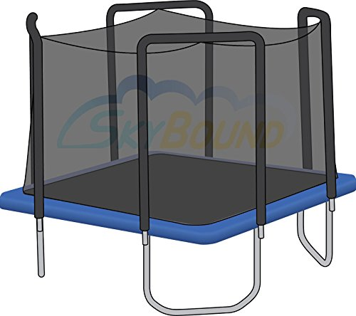 Replacement Trampoline Safety Net Enclosure | for 13ft Square Skywalker Frames w/ 4 Arched Poles | Tear and Weather-Resistant