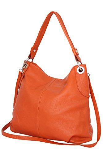 AMBRA Moda Damen echt Ledertasche Handtasche Schultertasche Beutel Shopper Umhängtasche GL012 (Orange)